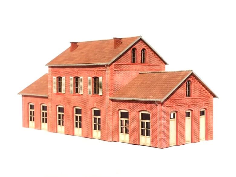 Gare Compagnie du Nord - Echelle HO Bois_modelisme_gare_nord_ho_gare_nord_1_87_maquette_gare_nord_gare_brique_ho_BV_nord_HO_batiment_voyageur_ho_2
